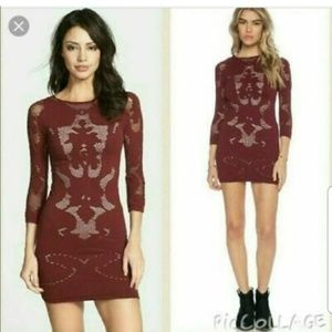Intimately Free People Burgundy Cut Out Mini Dress